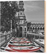 Boats By The Plaza De Espana Seville Wood Print by Mary Machare