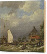 Boats Docking In An Estuary Wood Print