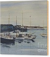 Boats In A Harbour Wood Print