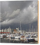Boats In A Marina Wood Print