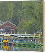 Boats In A Park, Beijing Wood Print