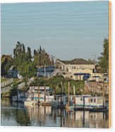 Boats In A River, Walnut Grove Wood Print