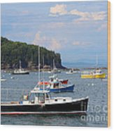 Boats In Bar Harbor Wood Print