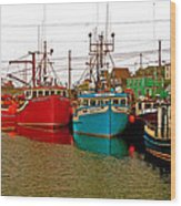 Boats In Branch Marina-nl Wood Print