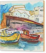 Boats In Ericeira In Portugal Wood Print