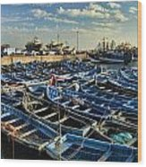 Boats In Essaouira Morocco Harbor Wood Print