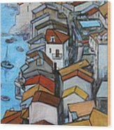 Boats In Front Of The Buildings Iv Wood Print by Xueling Zou
