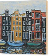 Boats In Front Of The Buildings Vi Wood Print