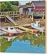 Boats In Halls Harbour-nova Scotia  Wood Print