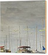 Boats In Harbor Reflection Wood Print