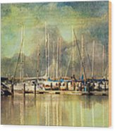 Boats In Harbour Wood Print