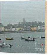Boats In Irish Sea Wood Print