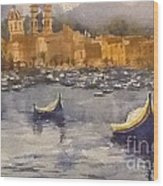Boats In Malta Wood Print