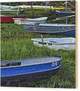 Boats In Marsh - Cape Neddick - Maine Wood Print