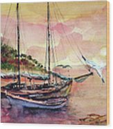 Boats In Sunset  Wood Print