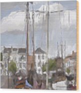 Boats In The Harbor 1905 Wood Print