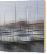 Boats In The Marina Wood Print