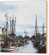 Boats In The Old Harbor Wood Print