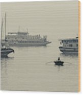 Boats In The Pacific Ocean, Bai Chay Wood Print