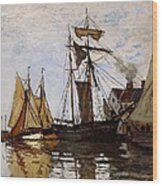 Boats In The Port Of Honfleur Wood Print by L Brown