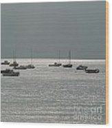 Boats In The Sea. Normandy. France. Europe Wood Print by Bernard Jaubert