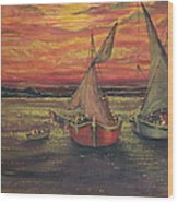 Boats In The Sea Wood Print