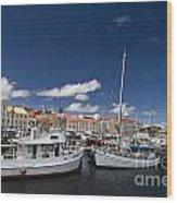 Boats Line Victoria Dock Hobar Wood Print