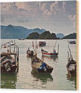 Boats Moored In Sea, Teluk Baru Wood Print