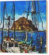 Boats Of Morro Bay Wood Print