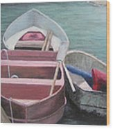 Boats Of The Lighthouse Wood Print