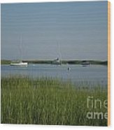 Boats On A Calm Bay.04 Wood Print