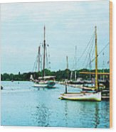 Boats On A Calm Sea Wood Print