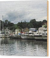 Boats On A Cloudy Day Essex Ct Wood Print