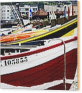 Boats On A French Beach Wood Print