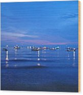 Boats On A Lake Wood Print