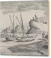 Boats On A River Bank, Jan Van De Velde II Wood Print
