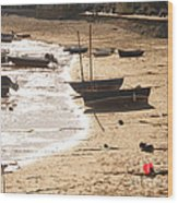 Boats On Beach 02 Wood Print by Pixel  Chimp