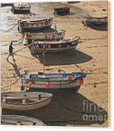 Boats On Beach Wood Print by Pixel  Chimp