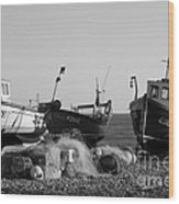 Boats On Beer Beach Wood Print
