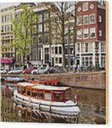 Boats On Canal In Amsterdam Wood Print by Artur Bogacki