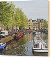 Boats On Canal Tour In Amsterdam Wood Print