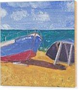 Boats On Cascais Beach Wood Print