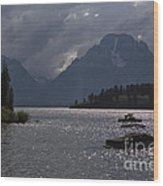 Boats On Jackson Lake - Grand Tetons Wood Print