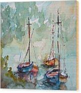 Boats On Lake  Wood Print