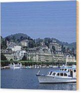 Boats On Lake Geneva Wood Print