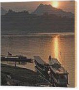 Boats On River By Luang Prabang Laos  Wood Print