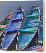 Boats On River Wood Print