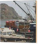 Boats On Morro Bay Wood Print