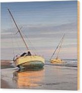 Accidentally - Boats On The Beach Wood Print