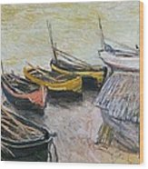 Boats On The Beach Wood Print
